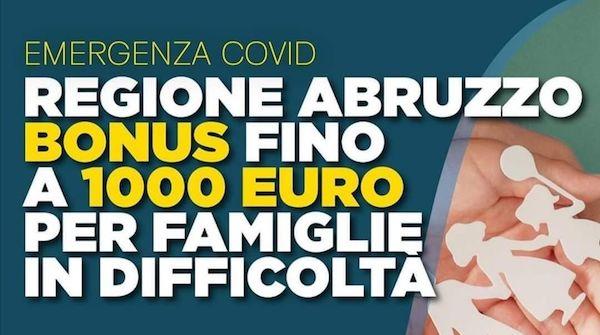 Regione Abruzzo - Bonus fino a 1000 Euro per famiglie in difficoltà